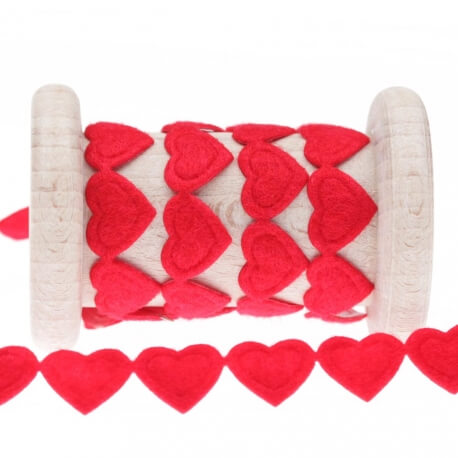 Galon thermocollant coeur au mètre - Rouge