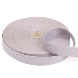 Rouleau sangle coton 20 mètres - Gris