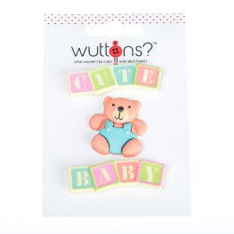 Assortiment 3 boutons Baby & ourson