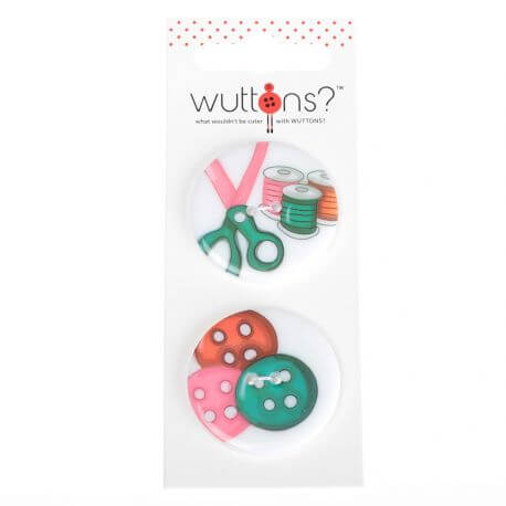 Assortiment 2 boutons Couture boutons & ciseaux 34mm x2