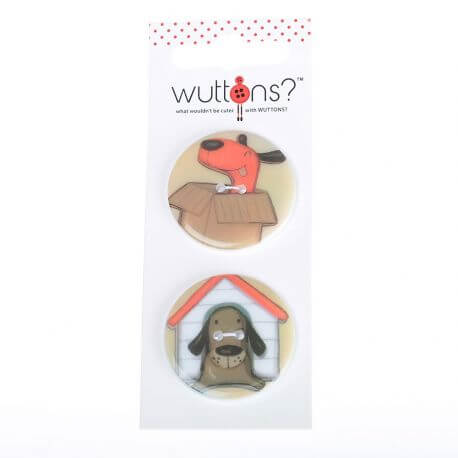 Assortiment 2 boutons Chiens & niche