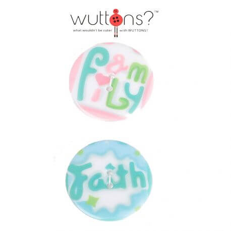 Assortiment 2 boutons LOVE & faith - 34mm