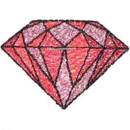 Ecusson diamant old school rockabilly - Rouge et brillant