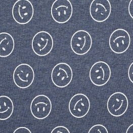Tissu sweat smiley & envers minky - Bleu & blanc