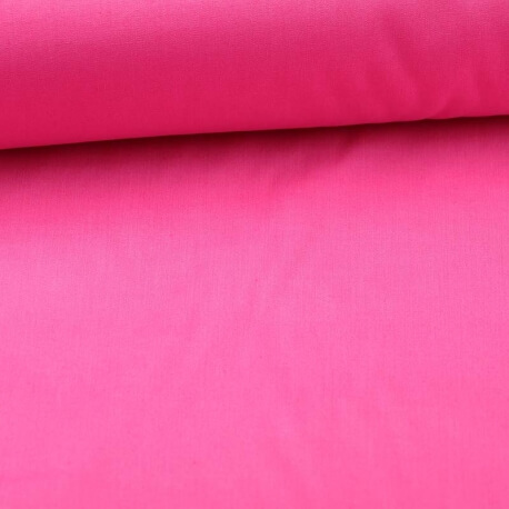 Tissu popeline coton unie rose fuchsia
