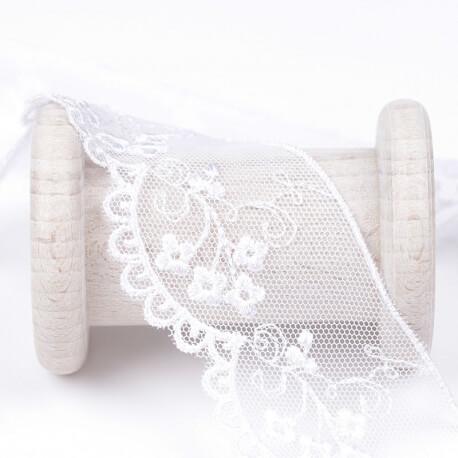 Dentelle fleur brodée  - Blanc