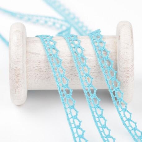 Dentelle solo coton pointe au mètre - Bleu