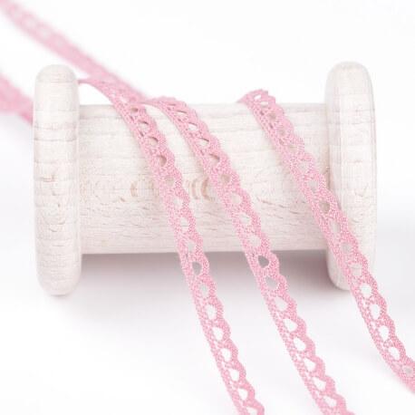 Dentelle mini coton au mètre - Rose wild