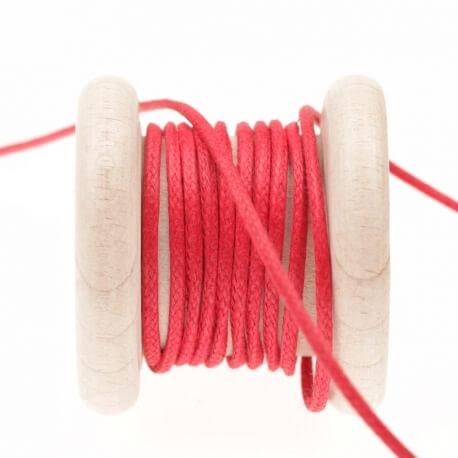 Lacet aspect cuir au mètre - Rouge rococco