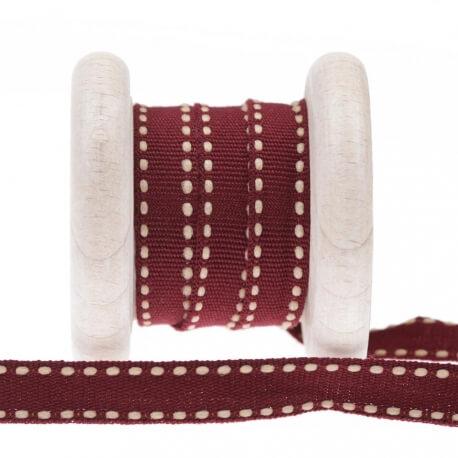 Galon pointillé au mètre - Blanc & rouge bordeaux