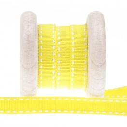Galon pointillé au mètre - Blanc & jaune