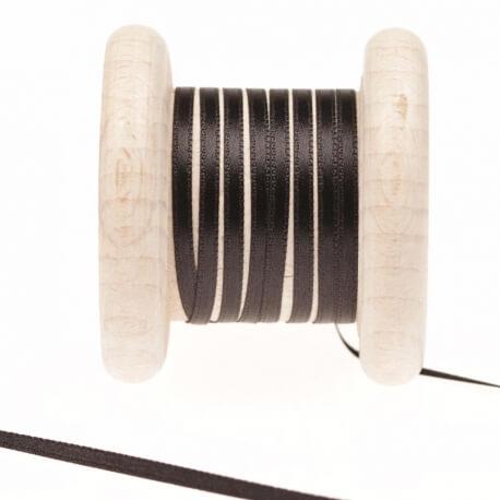 Ruban fin satin au mètre - Noir - Largeur 3mm