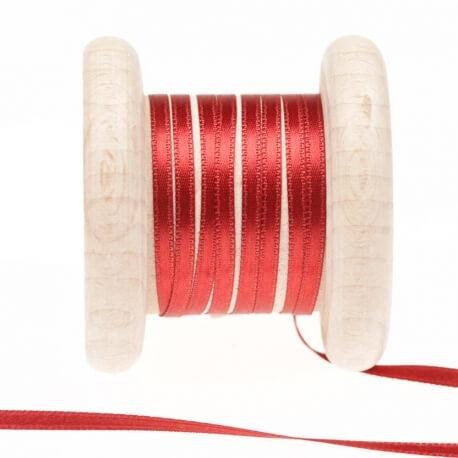 Ruban fin satin au mètre - Rouge pomperan - Largeur 3mm