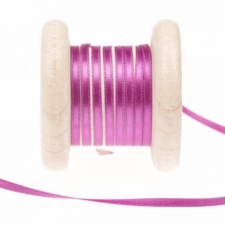 Ruban fin satin au mètre - Violet dahlia - Largeur 3mm