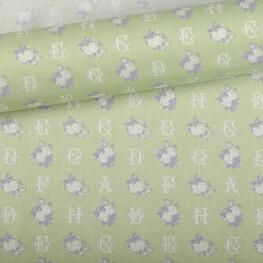 Tissu alphabet fleur vert
