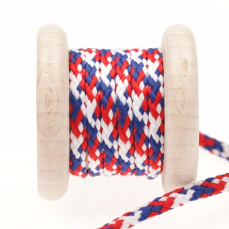 Cordon tricolore au mètre - Bleu blanc rouge