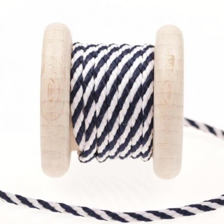 Cordon bicolore au mètre - Bleu & blanc