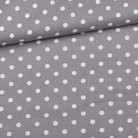 Tissu à pois  - Gris & blanc