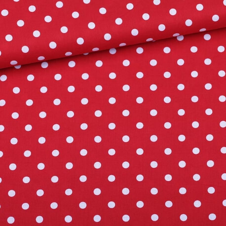 Tissu à pois  - Rouge & blanc