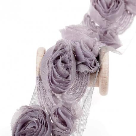 Bande fleur tissu, tull et laine