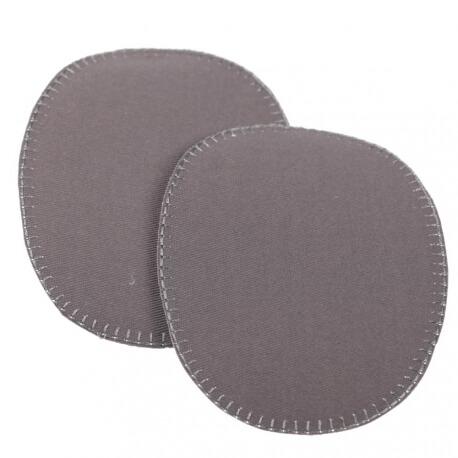 Paire de petits renforts coudes et genoux  - Thermocollant ou à coudre - Gris