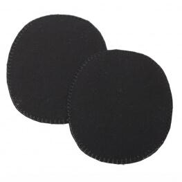 Paire de petits renforts coudes et genoux  - Thermocollant ou à coudre - Noir