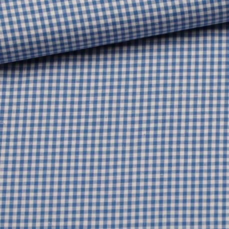 Tissu petit vichy bleu