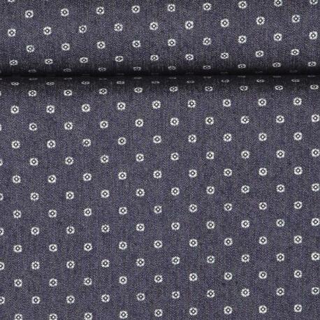 Tissu jean petite fleur bleu