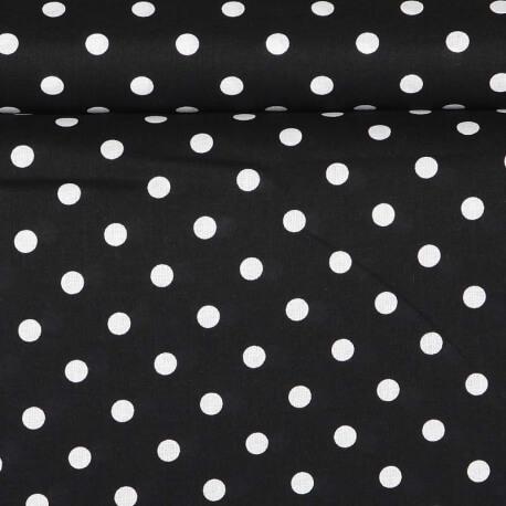 Tissu à pois noir  - Noir