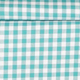 Tissu gros vichy turquoise