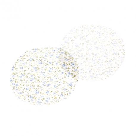 Paire de petits renforts coudes et genoux - Thermocollant ou à coudre - Bleu à fleurs