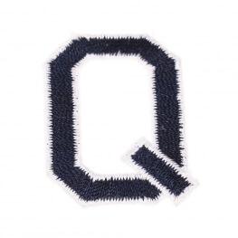 Ecusson lettre américaine Q - Marine & blanc