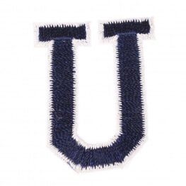 Ecusson lettre américaine U - Marine & blanc