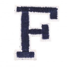 Ecusson lettre américaine F - Marine & blanc