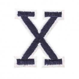 Ecusson lettre américaine X - Marine & blanc