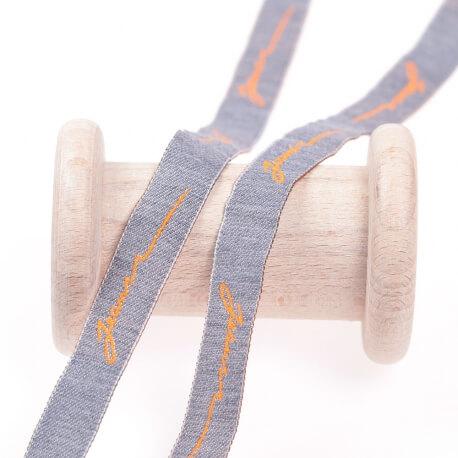 Ruban jeans - Orange & gris-bleu
