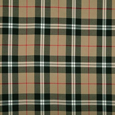 Tissu écossais tartan - Coupon de 70cm - Beige, noir & rouge