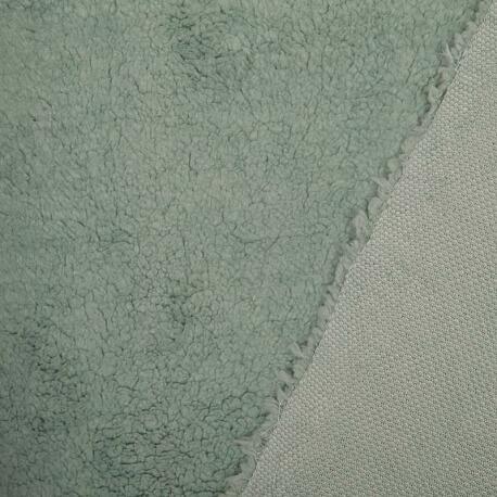 Tissu petite fourrure doudou x 50cm - Bleu vert