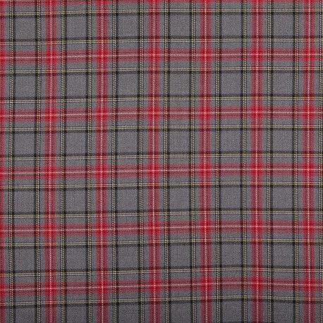 Tissu petit écossais tartan classic  - Gris & rouge
