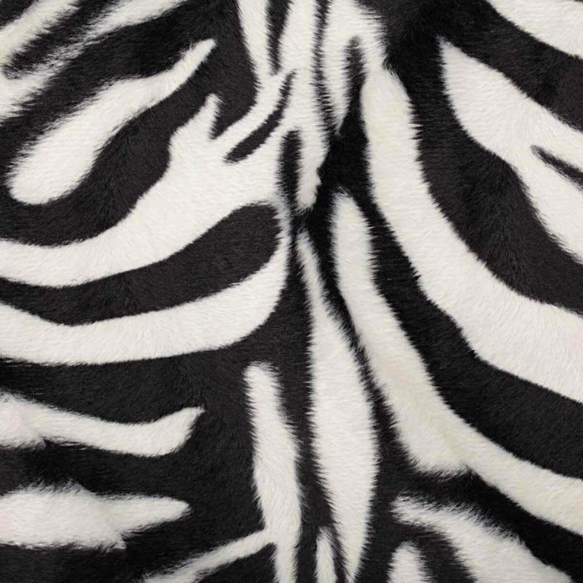 tissu peau de z bre fine fourrure noir blanc mercerie car fil. Black Bedroom Furniture Sets. Home Design Ideas