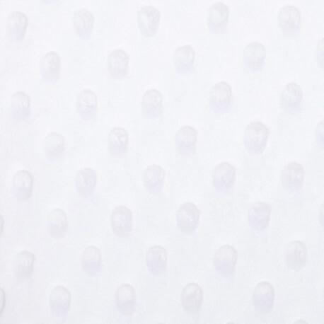 Tissu minky à pois  - Blanc