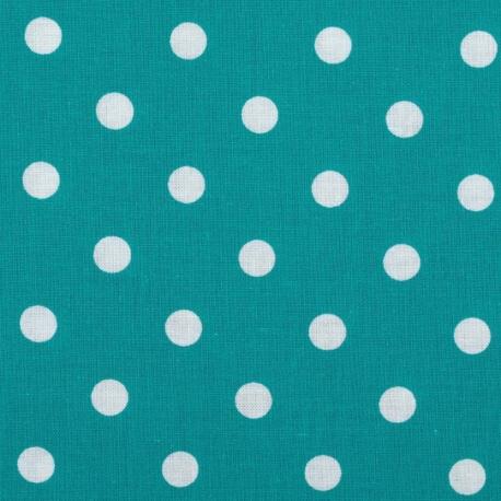 Tissu à pois  - Bleu turquoise & blanc