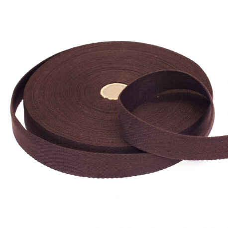 Rouleau sangle coton 20 mètres - Marron