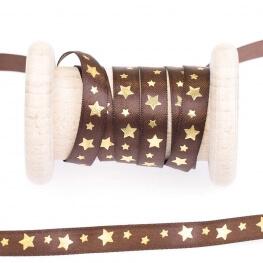 Ruban étoiles au mètre - Marron & or