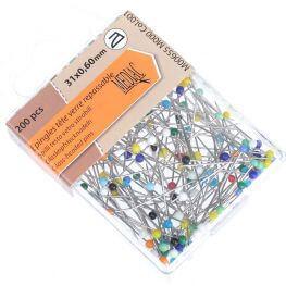 Boîte 200 épingles tête de verre 0,60 x 31 mm