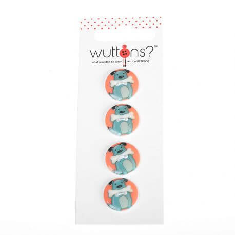 Assortiment 4 boutons Chien & os