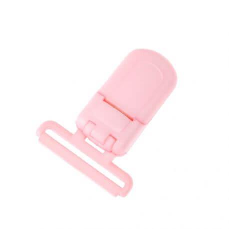 Pince tétine ou bretelle plastique - Rose bonbon