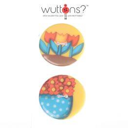 Assortiment 2 boutons tulipe et fleur - 34mm