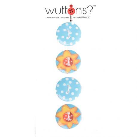 Assortiment 4 boutons fleurs et pois - 19 mm