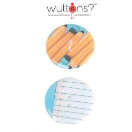 Assortiment 2 boutons Ecriture crayon & papier - 34mm